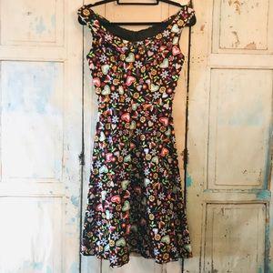 Bettie Page Floral Butterfly retro swing dress XS